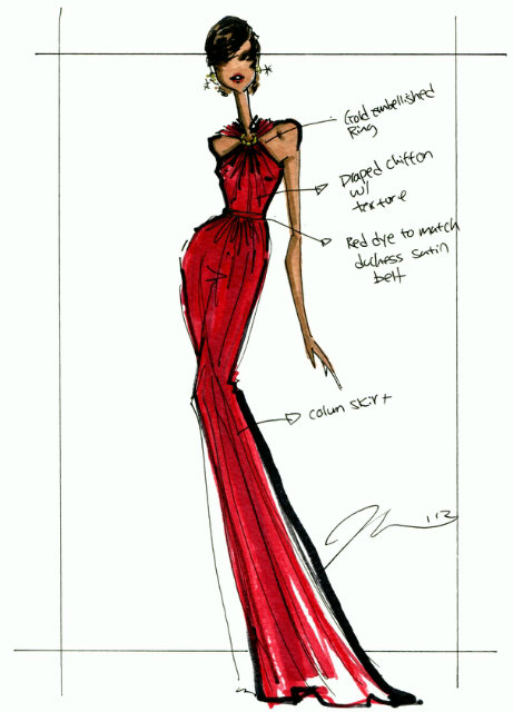 Jason-wu-Sketch-michelle-Obama-red-dress-2013-